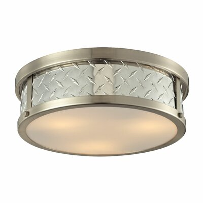 Diamond Plate 3-Light Flush Mount Bulb Type: 60W Med. Bulb