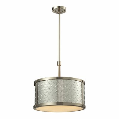 Diamond Plate 3-Light Drum Pendant Bulb Type: 60W Med. Bulb