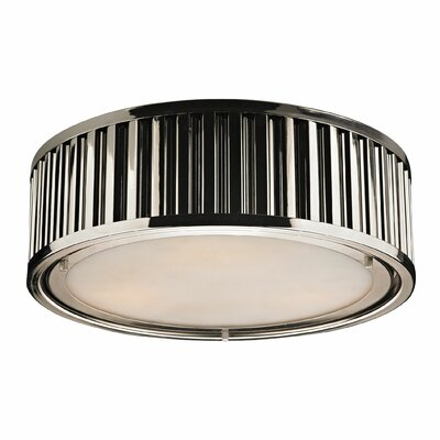 Furniture-Linden 3 Light Flush Mount Finish Polished Nickel, Bulb Type Dimmable 800 Lumens 13.5W LED Bulb