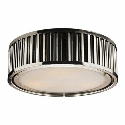 Linden 3-Light Flush Mount Finish: Polished Nickel, Bulb Type: Dimmable 800 Lumens 13.5W LED Bulb