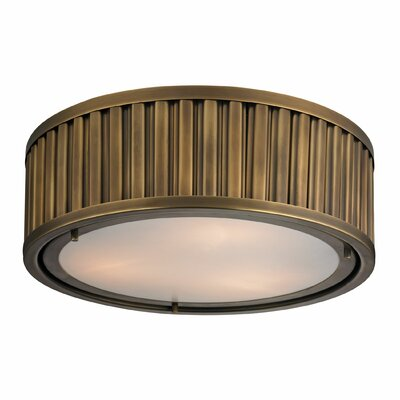 Linden 3-Light Flush Mount Bulb Type: Dimmable 800 Lumens 13.5W LED Bulb, Finish: Aged Brass