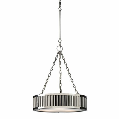 Linden 3-Light Drum Pendant Bulb Type: Dimmable 800 Lumens 13.5W LED Bulb, Finish: Brushed Nickel
