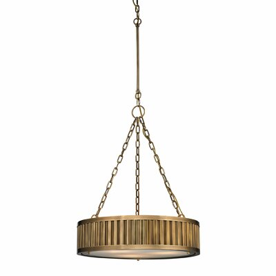 Linden 3-Light Drum Pendant Bulb Type: 100W Med. Bulb, Finish: Aged Brass