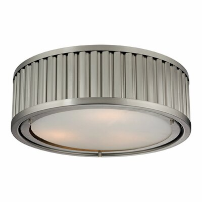 Linden 3-Light Flush Mount Bulb Type: 60W Med. Bulb, Finish: Brushed Nickel