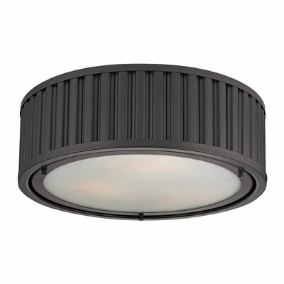 Linden 3-Light Flush Mount Bulb Type: Dimmable 800 Lumens 13.5W LED Bulb, Finish: Oil Rubbed Bronze