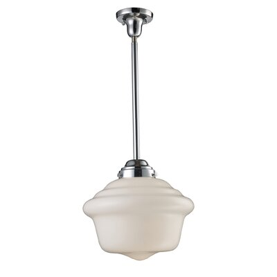 Wyzga 1-Light Schoolhouse Pendant Finish: Satin Nickel, Size: 15