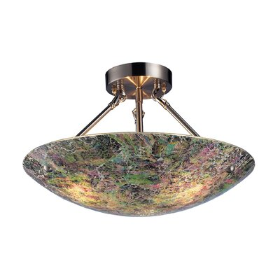 Sealey 3-Light Semi-Flush Mount Shade Color: Pattern 2