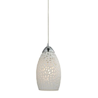 Mouzon Etched Glass 1-Light Mini Pendant Finish: Polished Chrome