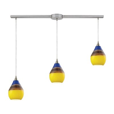 Dunes 3-Light Kitchen Island Pendant Shade Color: Sunscape