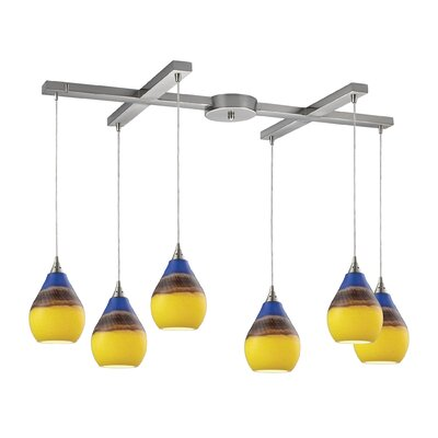 Dunes 6-Light Kitchen Island Pendant Shade Color: Sunscape