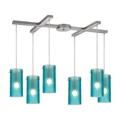 Synthesis 6-Light Kitchen Island Pendant Shade Color: Aqua