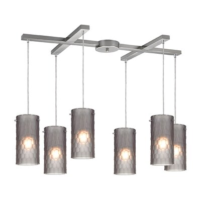 Synthesis 6-Light Kitchen Island Pendant Shade Color: Smoke