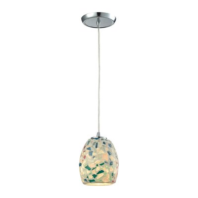 Glass Mosaic 1-Light Mini Pendant Shade Color: Multicolor