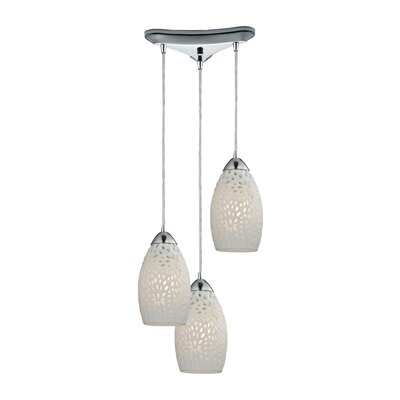 Knepp Etched Glass 3-Light Kitchen Island Pendant
