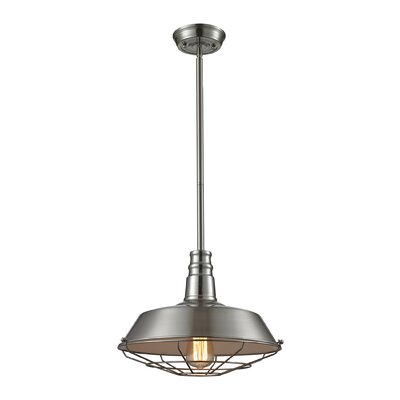 Warehouse 1-Light Pendant Finish: Satin Nickel, Shade Color: Satin Nickel