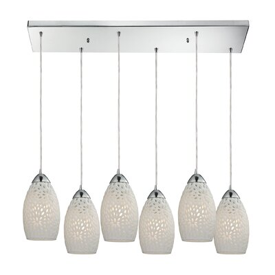 Knighten Etched Glass 6-Light Kitchen Island Pendant