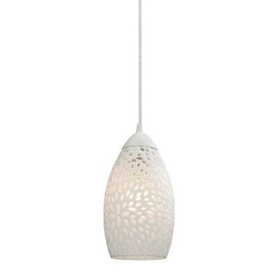 Mouzon Etched Glass 1-Light Mini Pendant Finish: White