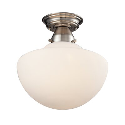 Elaine 1-Light Semi Flush Mount Finish: Satin Nickel, Size: 12 H x 12 W x 12 D