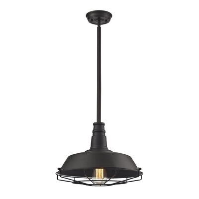 Warehouse 1-Light Pendant Finish: Oil Rubbed Bronze, Shade Color: Oil Rubbed Bronze