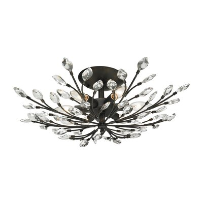 Crystal Branches 6-Light Semi Flush Mount