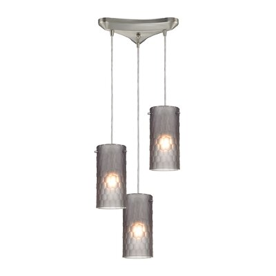 Synthesis 3-Light Kitchen Island Pendant Shade Color: Smoke
