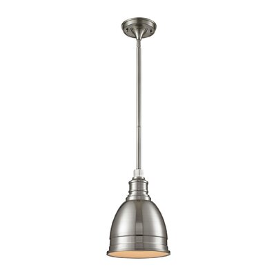 Carolton 1-Light Pendant Finish: Brushed Nickel, Shade Color: Brushed Nickel, Size: 12 H x 8 W x 8 D