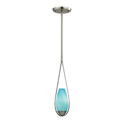 Chamlee Teardrop 1-Light Mini Pendant Finish: Satin Nickel, Shade Color: Aqua