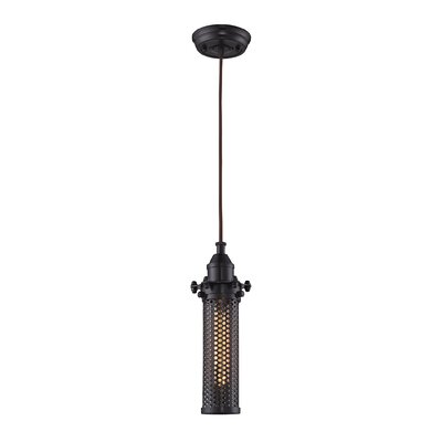 Karla Cylinder 1-Light Mini Pendant Finish: Oil Rubbed Bronze
