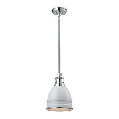 Carolton 1-Light Pendant Finish: Chrome, Shade Color: Gloss White, Size: 12 H x 8 W x 8 D