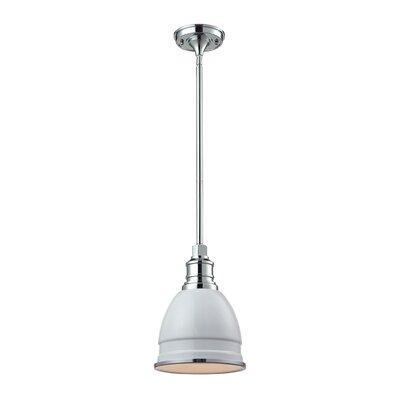 Carolton 1-Light Pendant Size: 12 H x 8 W x 8 D, Finish: Chrome, Shade Color: Gloss White