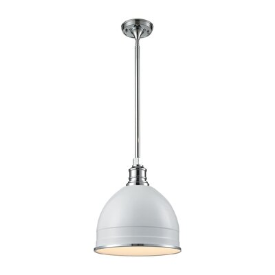 Carolton 1-Light Pendant Size: 14 H x 13 W x 13 D, Finish: Chrome, Shade Color: Gloss White