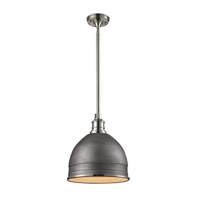 Carolton 1-Light Pendant Finish: Polished Nickel, Shade Color: Weathered Zinc, Size: 14 H x 13 W x 13 D