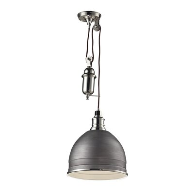 Carolton 1-Light Pendant Finish: Polished Nickel, Shade Color: Weathered Zinc, Size: 14 H x 12 W x 12 D