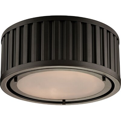 Linden 2-Light Flush Mount Bulb Type: Dimmable 800 Lumens 13.5W LED Bulb, Finish: Oil Rubbed Bronze