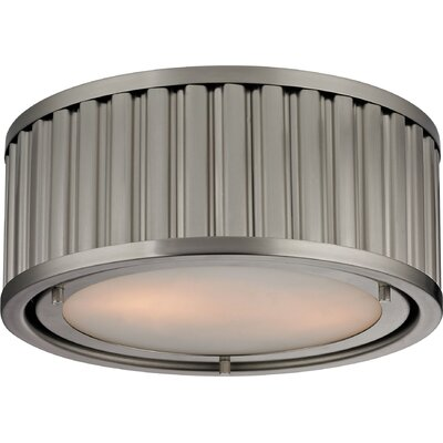 Linden 2-Light Flush Mount Bulb Type: 60W Med. Bulb, Finish: Brushed Nickel