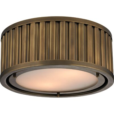 Linden 2-Light Flush Mount Bulb Type: Dimmable 800 Lumens 13.5W LED Bulb, Finish: Aged Brass