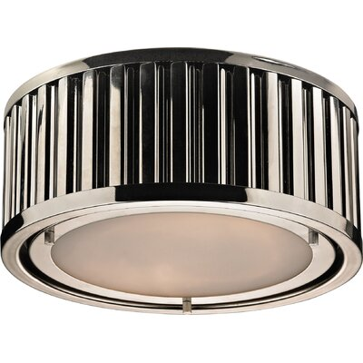 Linden 2-Light Flush Mount Finish: Polished Nickel, Bulb Type: 60W Med. Bulb