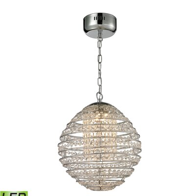 Leo 1 LED Integrated Bulb Globe Pendant Finish: Polished Chrome