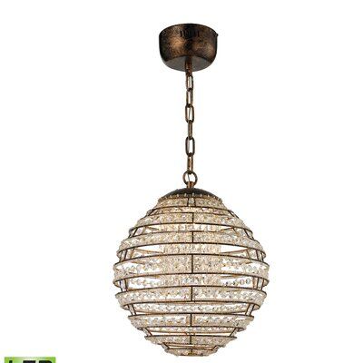 Leo 1 LED Integrated Bulb Globe Pendant Finish: Spanish Bronze