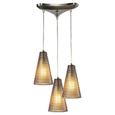 Ribbed Glass 3 Light Pendant 10333/3