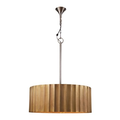 Large Brass Clad Ribbed 2 Light Drum Pendant 985-025