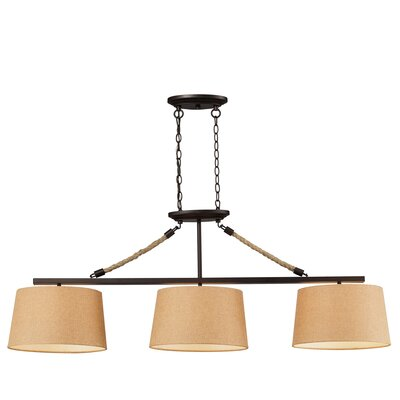 Natural Rope 3-Light LED Billiard/Island in Aged Bronze