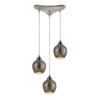 Fission 3-Light Pendant Shade Color: Silver