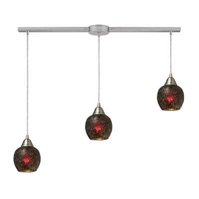 Fission 3-Light Linear Pendant Shade Color: Wine