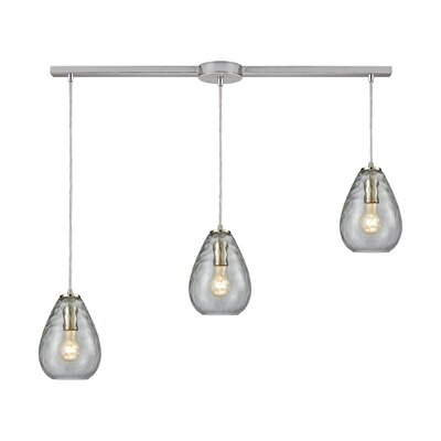Bradsher Linear Bar 3-Light Kitchen Island Pendant Finish: Satin Nickel/Clear