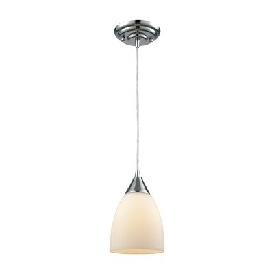 Mcbride 1-Light Mini Pendant Shade Color: White, Size: 9 H x 6 W x 6 D