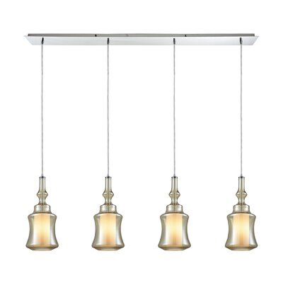 Cabell Linear Pan 4-Light Kitchen Island Pendant Shade Color: Champagne Plated