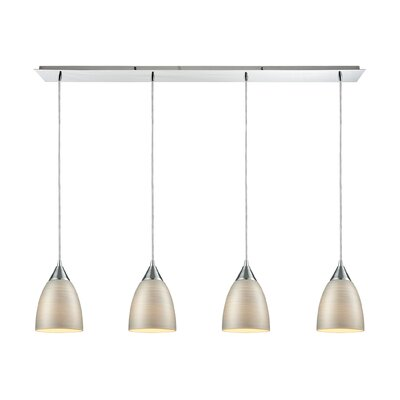 Mcbride Linear Pan 4-Light Kitchen Island Pendant Shade Color: Silver