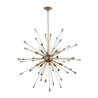 Byrns 10-Light Sputnik Chandelier Finish: Matte Gold/Amber Teak