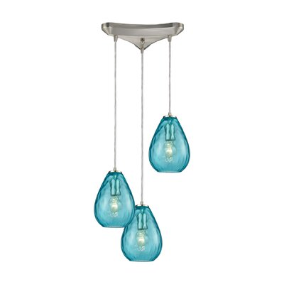 Bradsher Triangle Pan 3-Light Cascade Pendant Finish: Satin Nickel/Aqua